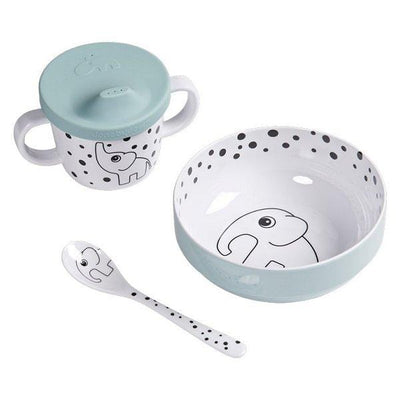 Done by Deer, First Meals Happy Dots Dinner Set Blue