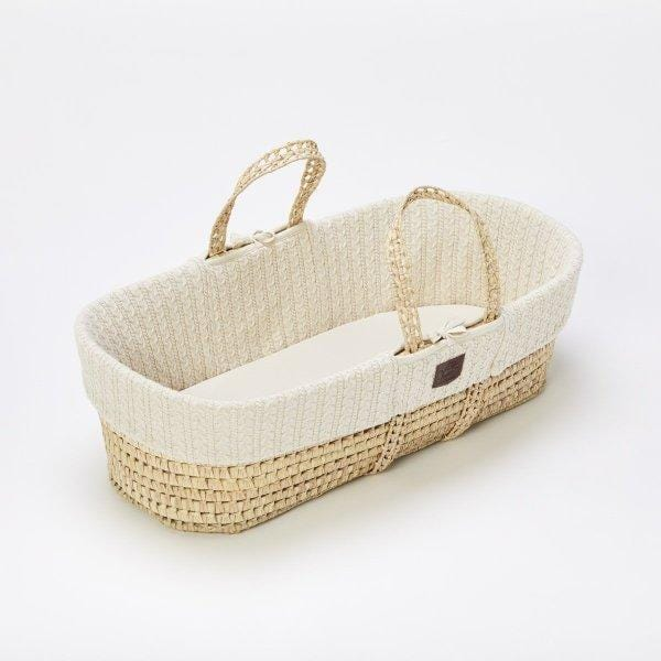 The Little Green Sheep, Natural Knitted Moses Basket & Mattress