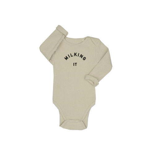 Claude & Co, Milking It Oatmeal Rib Bodysuit - Bygge Bo