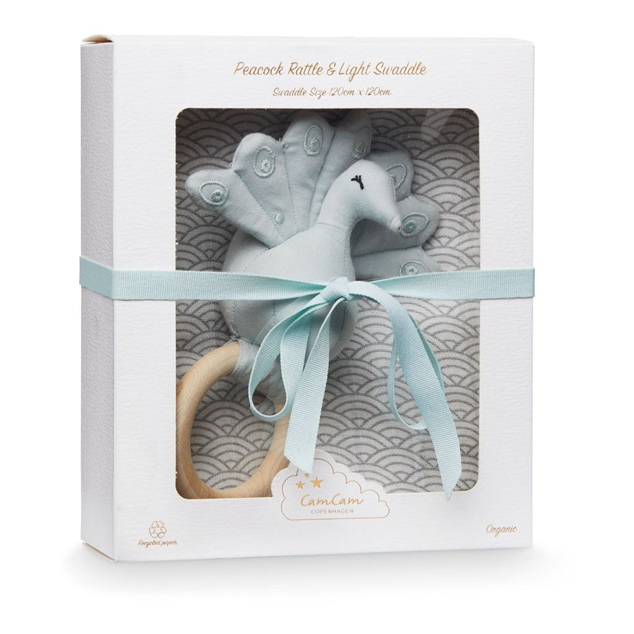 Cam Cam Copenhagen, Gift Box w/ Swaddle and Rattle - Grey Wave