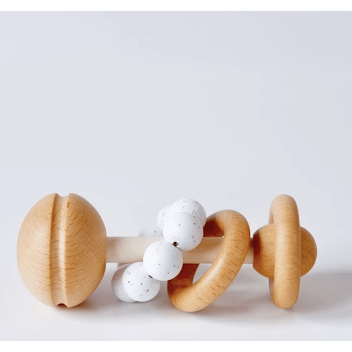 Blossom & Bear Wooden and Silicone Baby Rattle - Bygge Bo