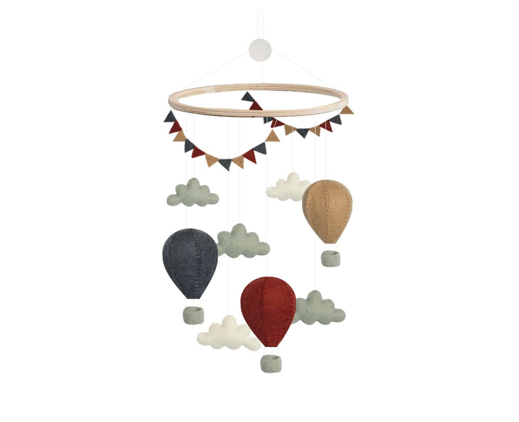 Cot Mobile, Balloons - Red - Bygge Bo