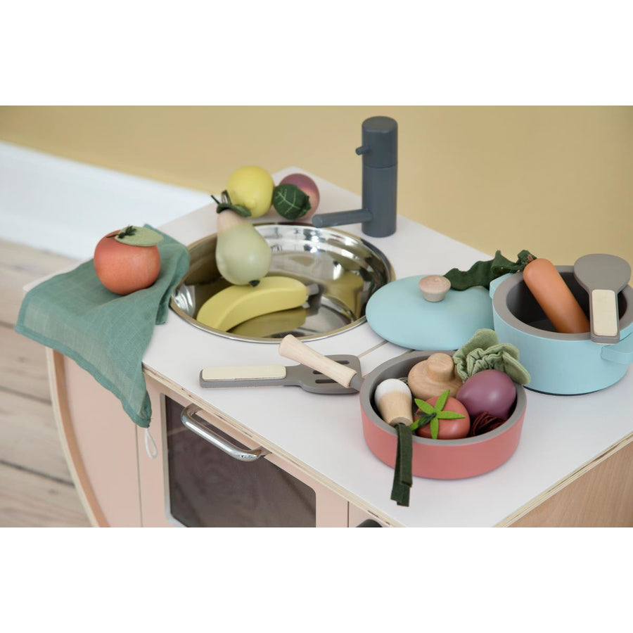 Sebra, Wooden kitchen tools set, warm grey - Bygge Bo
