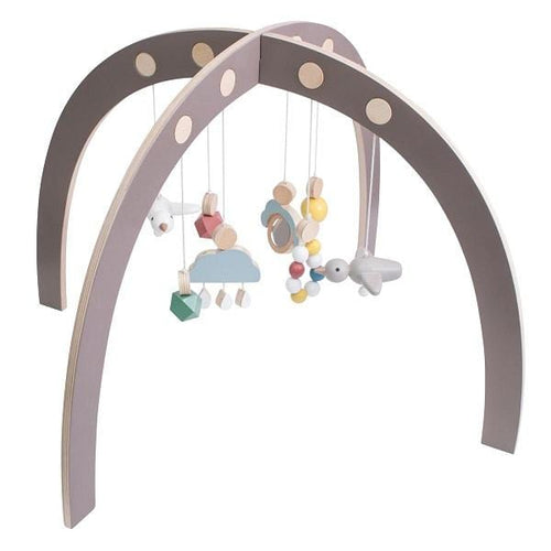 Sebra, Warm Grey Wooden Baby Gym - Bygge Bo