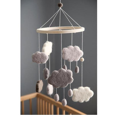 Sebra, Warm Grey Clouds Felted Baby Mobile