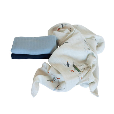 Sebra, 3 Pack Muslin Cloth, Seven Seas Collection