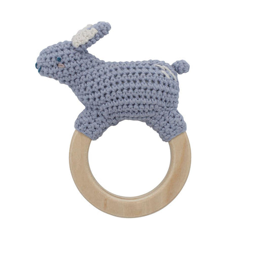 Sebra, Crochet rattle, Bluebell the bunny on ring, dreamy - Bygge Bo