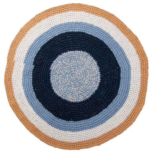 Sebra, Hand Crocheted Floor Mat - Harbour Blue - Bygge Bo