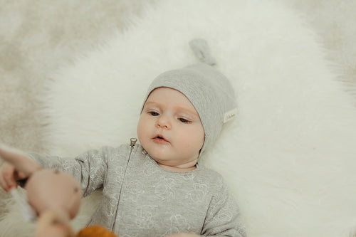 Lil&Izzy, Organic Cotton Knotted Hat Grey - Bygge Bo