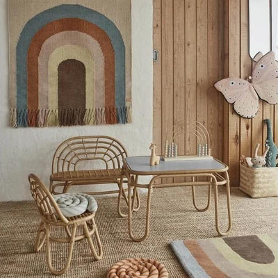 OYOY, Rainbow Mini Rattan Table - Bygge Bo