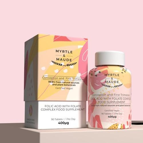 Myrtle & Maude, Folic Acid with Folate Complex Pregnancy Vitamin - Bygge Bo