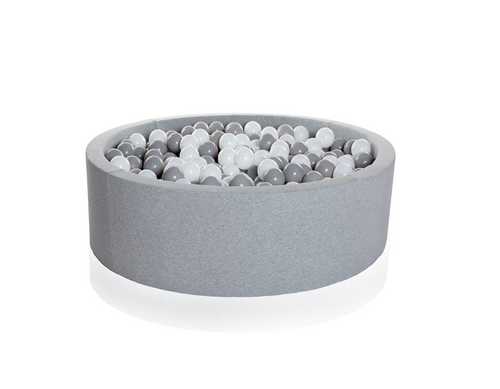 Ball Pit - Light Grey with Mixed Balls - Bygge Bo
