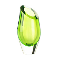 Decorative Glass Vase, Green Colored Art Decorative Vases For Living Room