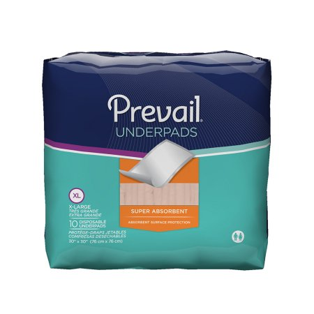 Underpad Prevail® 30 X 30 Inch Disposable Fluff Super Absorbent