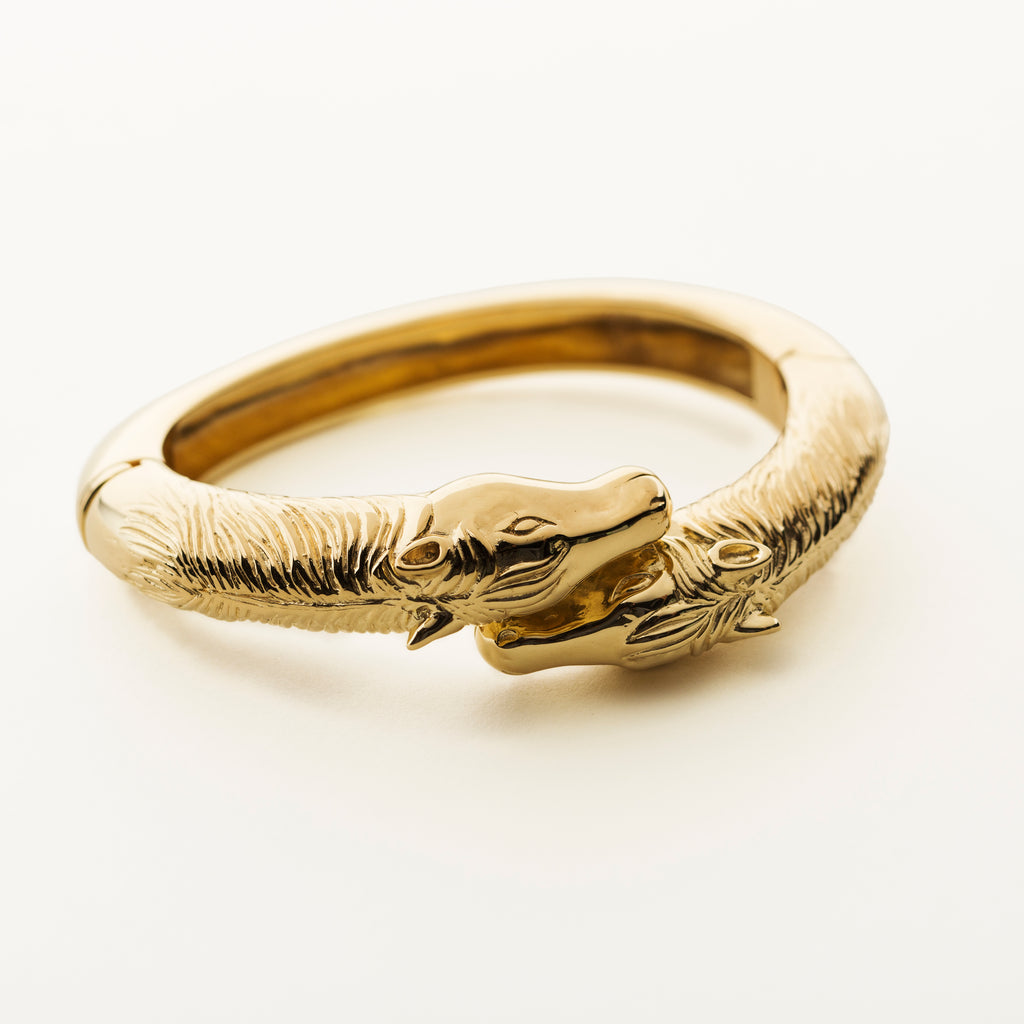 HORSE BANGLE - forgyldt sølv