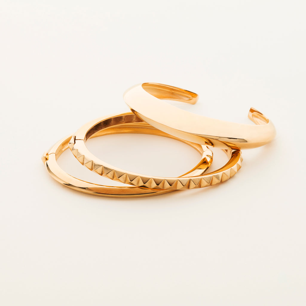 STUD BANGLE - forgyldt sølv
