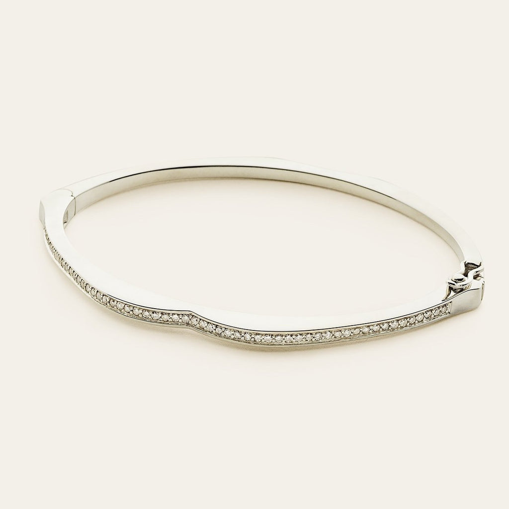 MOUTH BANGLE - sølv med diamanter