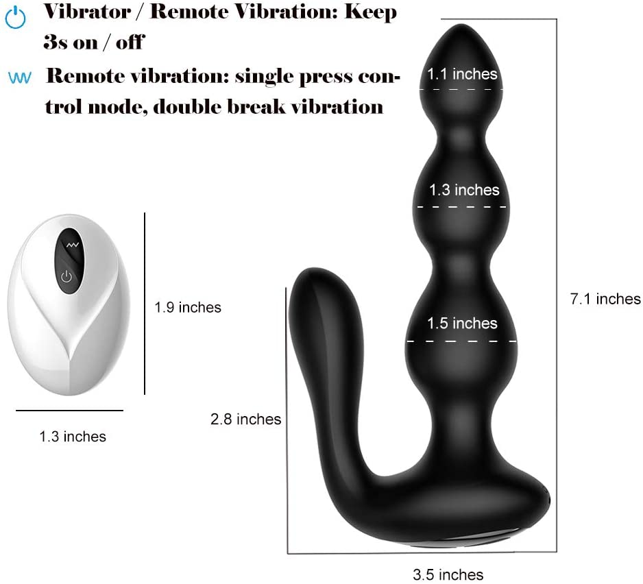 Anal Beads Vibrator with Remote - Blue - 9 Speed