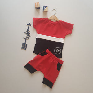Red and Black Signature Short Set