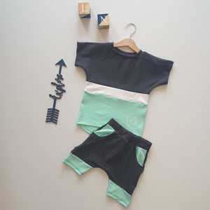 Charcoal and Mint Signature Short Set