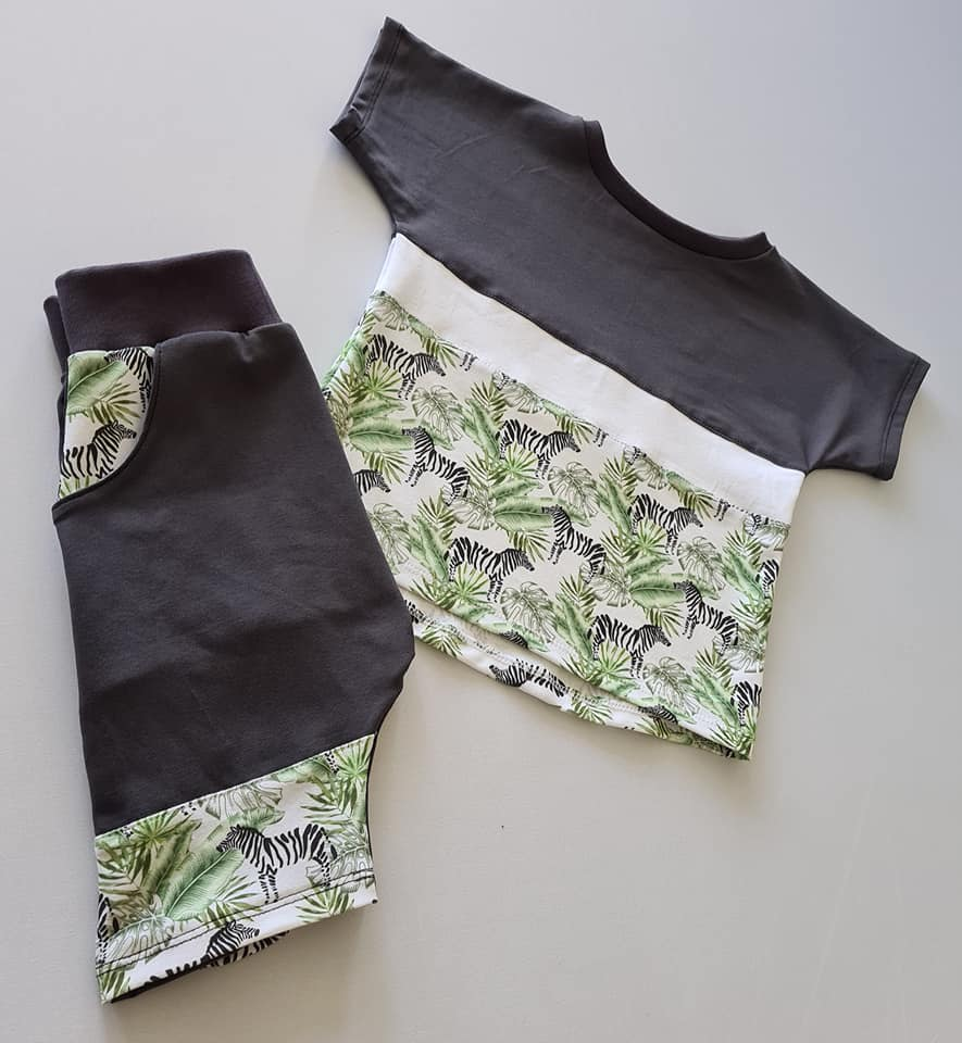 Zebra and Charcoal Signature Short Set