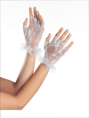 Fingerless Wrist Length Lace Gloves