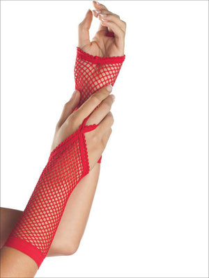 Mid-Arm Length Fingerless Fishnet Gloves