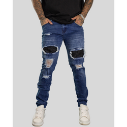 PANEL RIBBED DISTRESSED JEANS - WASHED BLUE