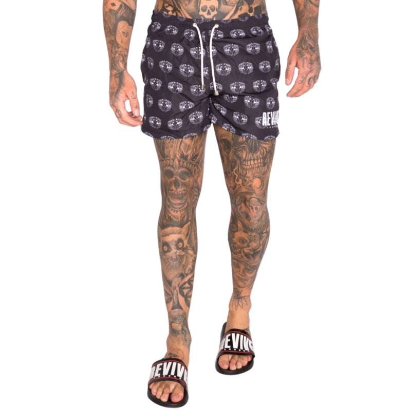 SKULLS SWIM SHORTS - BLACK