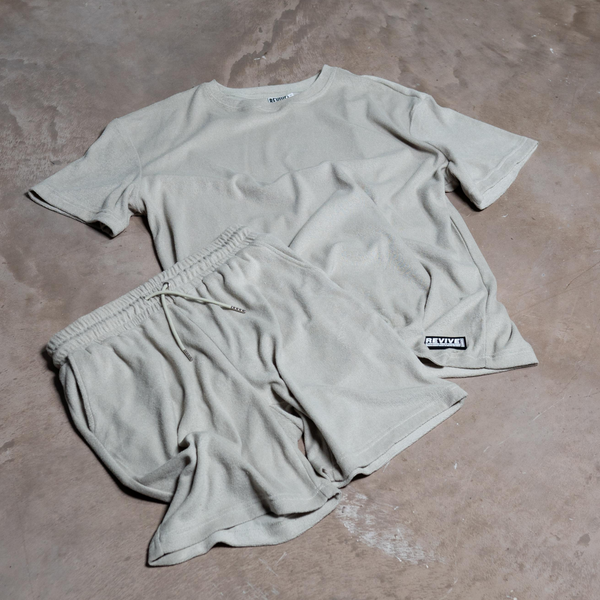TOWELLED OVERSIZED T-SHIRT - STONE