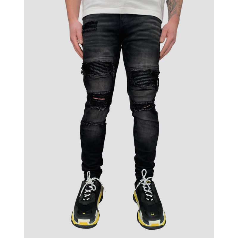PANEL RIBBED DISTRESSED JEANS - WASHED BLACK