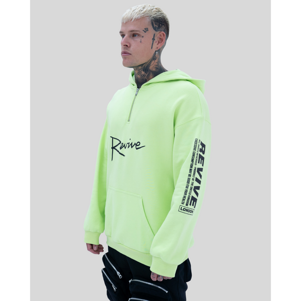 REVIVE ALL RIGHTS RESERVED HEAVY COTTON HOODED SWEATSHIRT - NEON