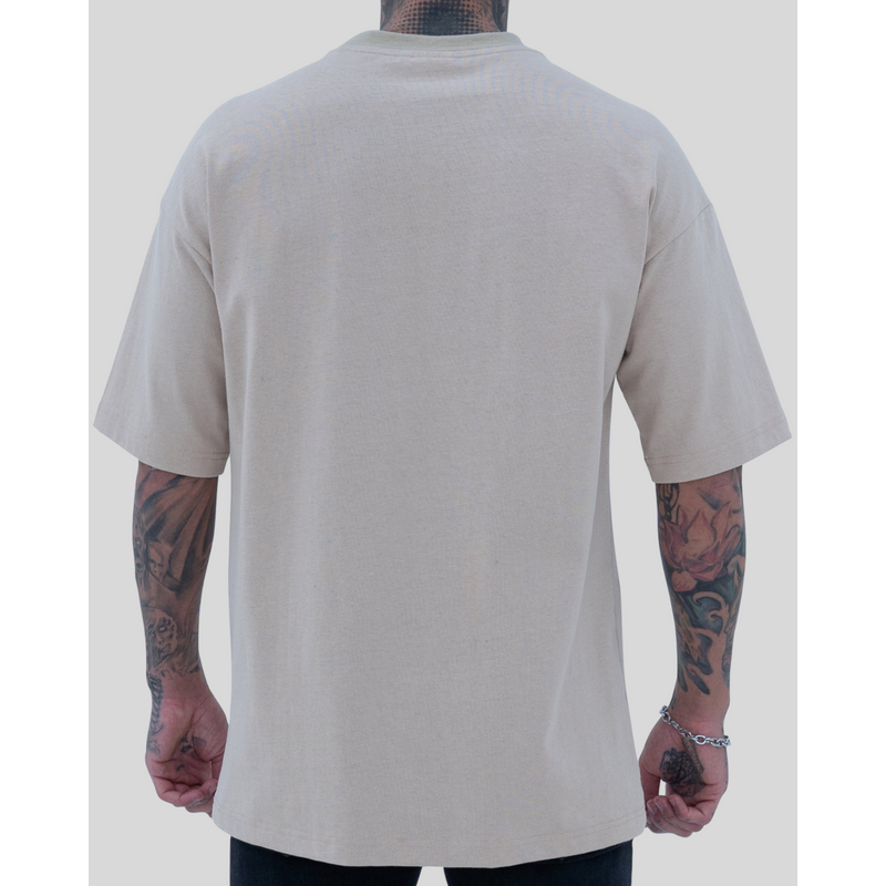 REVIVE ALL RIGHTS RESERVED BEIGE HEAVY COTTON TEE