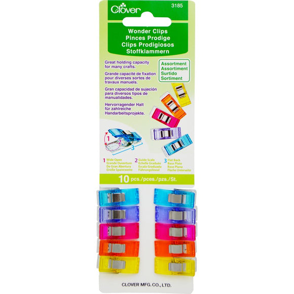 Clover Wonder Clips Small Assorted Colors - 10 pack