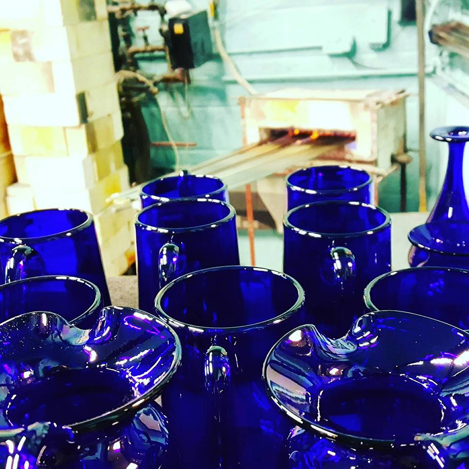 A display of some of the Bristol blue glassware range