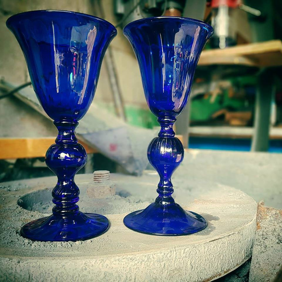 Two blue glass goblets