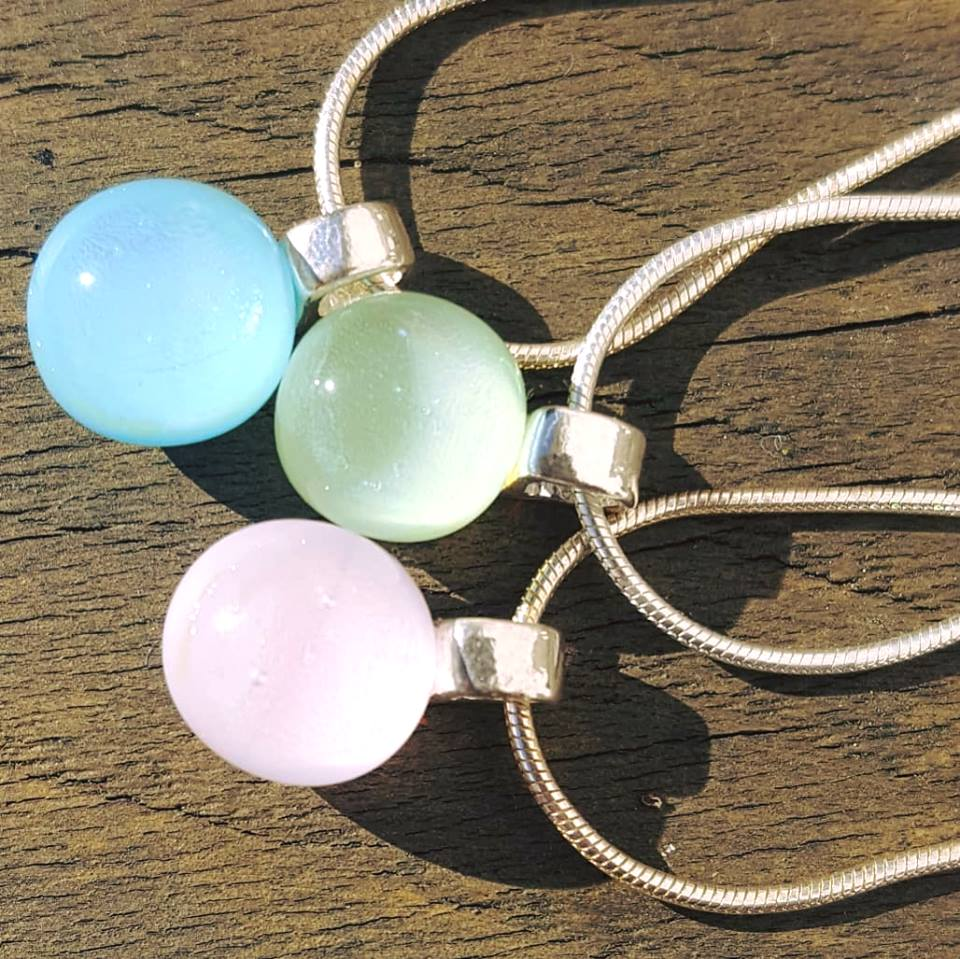 Pastel coloured glass necklaces