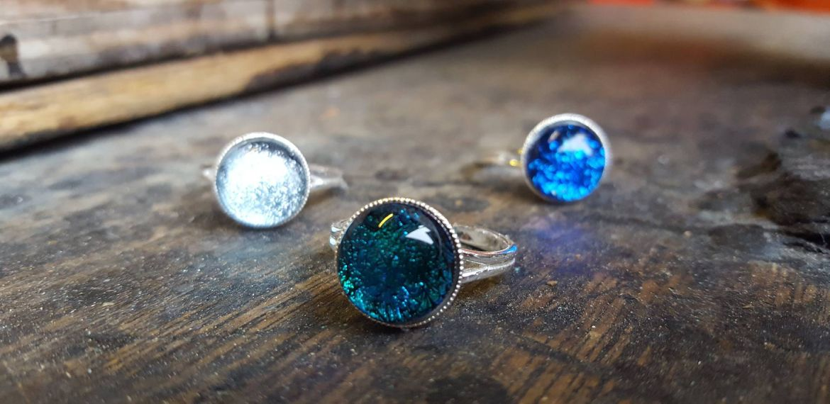 Dichroic glass rings - made by Original Bristol Blue Glass
