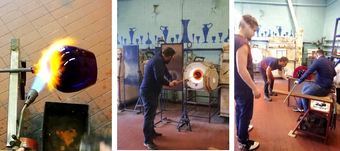 Photos from the hot shop floor at The Original Bristol Blue Glass