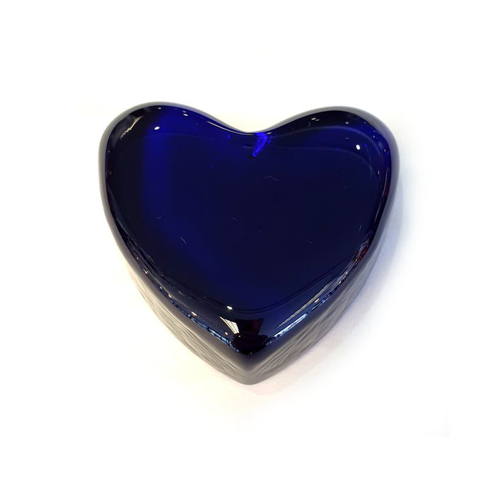 Bristol Blue Glass Solid Heart Paperweight