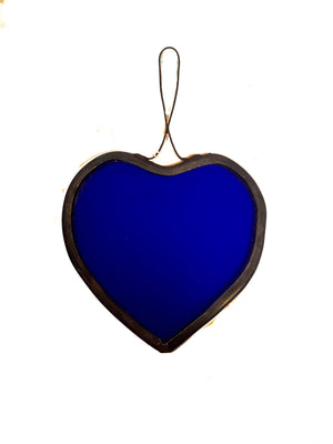Bristol Blue Stained Glass Heart