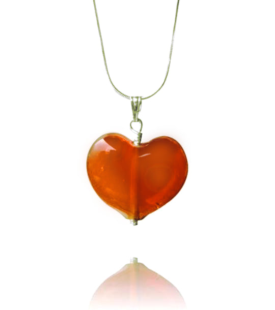 Amber Glass Heart Pendant Necklace