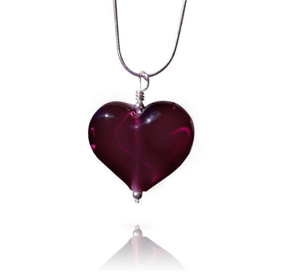 Amethyst Glass Heart Pendant Necklace