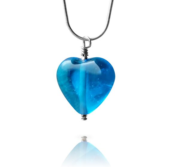 Aqua Blue Glass Heart Pendant Necklace