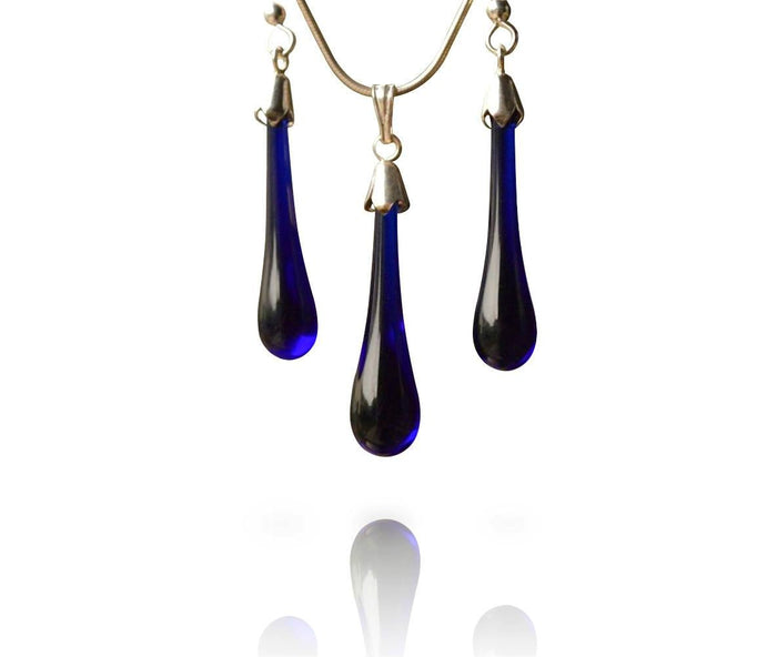 Blue Glass Drop Hook Earring & Pendant Set