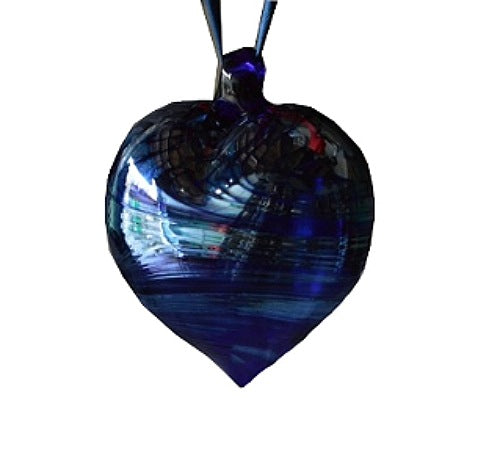 "Blue Glass ""Aurora"" Heart Bauble"