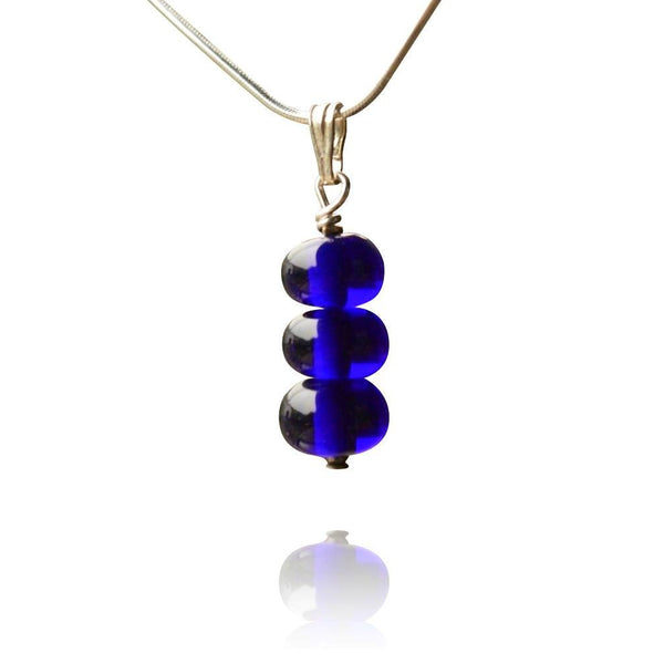 Blue Glass Bead Pendant Necklace