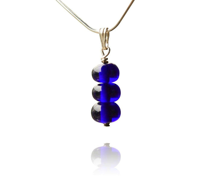 Blue Glass 3 Tier Bead Pendant Necklace
