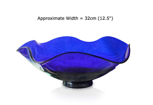 Blue Glass Fluted Dish