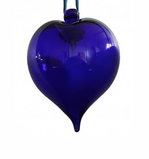 Bristol Blue Glass Heart Bauble